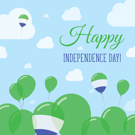Sierra Leone Independence Day Flat Patriotic Design. Sierra Leonean Flag Balloons. Happy National Day Vector Card.