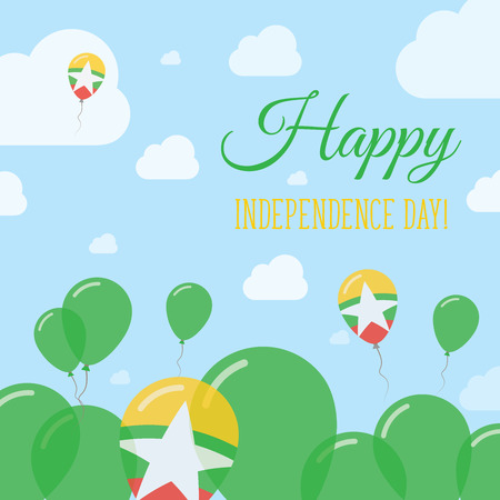 polychrome: Myanmar Independence Day Flat Patriotic Design. Myanmarian Flag Balloons. Happy National Day Vector Card.