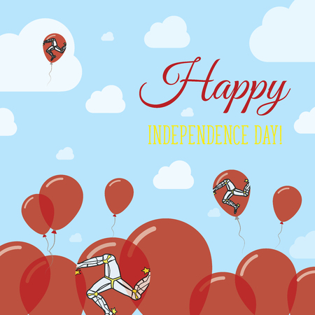 Isle of Man Independence Day Flat Patriotic Design. Manx Flag Balloons. Happy National Day Vector Card.