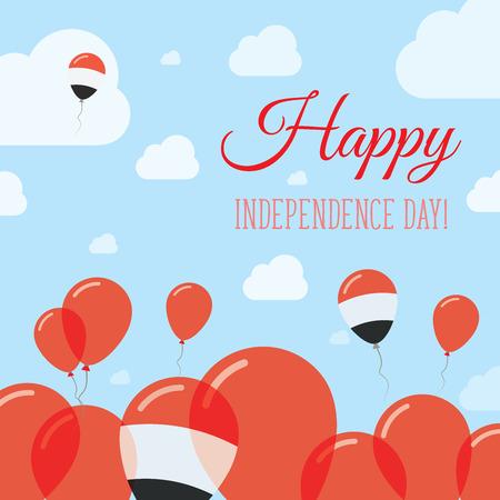 Yemen Independence Day Flat Patriotic Design. Yemeni Flag Balloons. Happy National Day Vector Card. Illustration