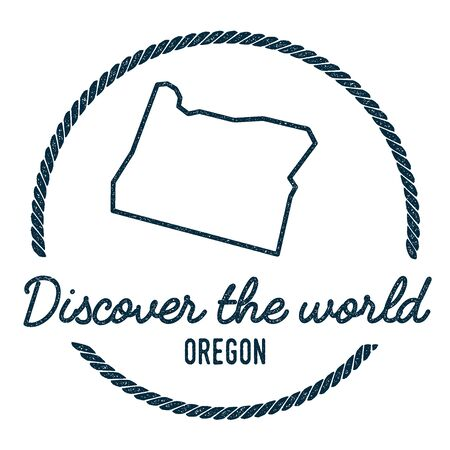 Oregon Map Outline. Vintage Discover the World Rubber Stamp with Oregon Map. Hipster Style Nautical Rubber Stamp, with Round Rope Border. USA State Map Vector Illustration.