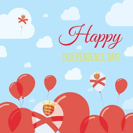 jersey: Jersey Independence Day Flat Patriotic Design. Channel Islander Flag Balloons. Happy National Day Vector Card.