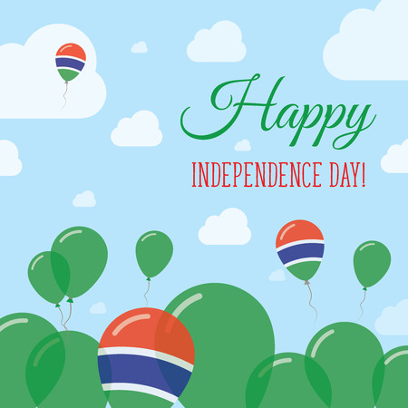 Gambia Independence Day Flat Patriotic Design. Gambian Flag Balloons. Happy National Day Vector Card.