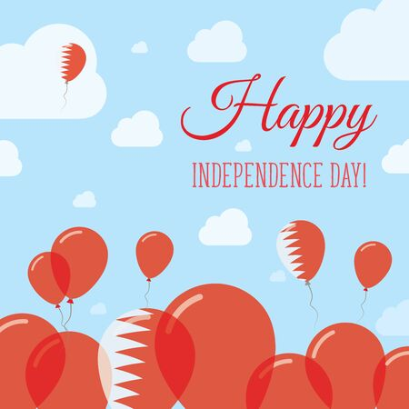 Bahrain Independence Day Flat Patriotic Design. Bahraini Flag Balloons. Happy National Day Vector Card. Ilustracja