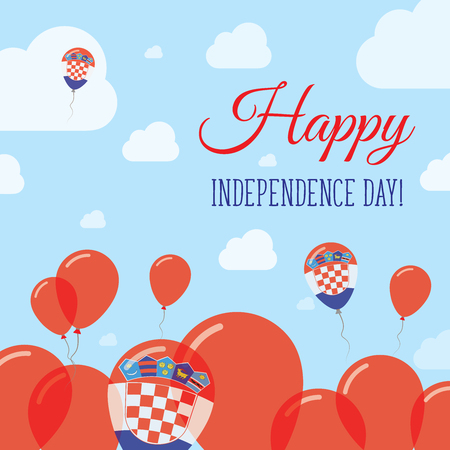 Croatia Independence Day Flat Patriotic Design. Croatian Flag Balloons. Happy National Day Vector Card.