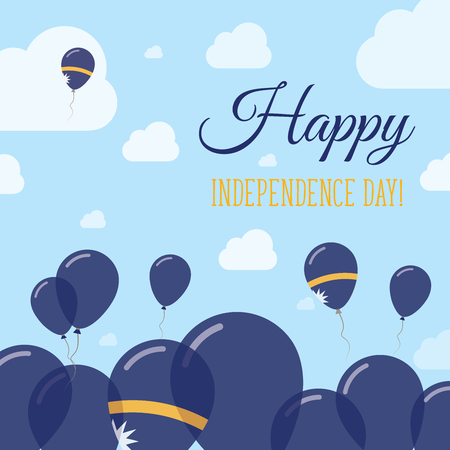 independency: Nauru Independence Day Flat Patriotic Design. Nauruan Flag Balloons. Happy National Day Vector Card. Illustration