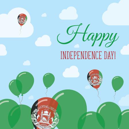 Afghanistan Independence Day Flat Patriotic Design. Palloncini bandiera afgana. Scheda di vettore felice giorno nazionale.
