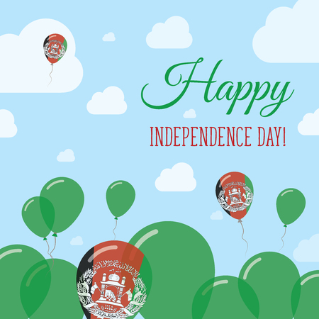 Afghanistan Independence Day Flat Patriotic Design. Afghan Flag Balloons. Happy National Day Vector Card.