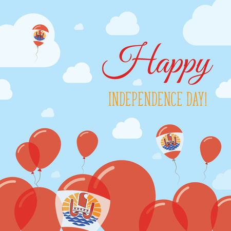 French Polynesia Independence Day Flat Patriotic Design. French Polynesian Flag Balloons. Happy National Day Vector Card. Vetores