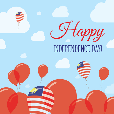 Malaysia Independence Day Flat Patriotic Design. Malaysian Flag Balloons. Happy National Day Vector Card. Vector Illustration