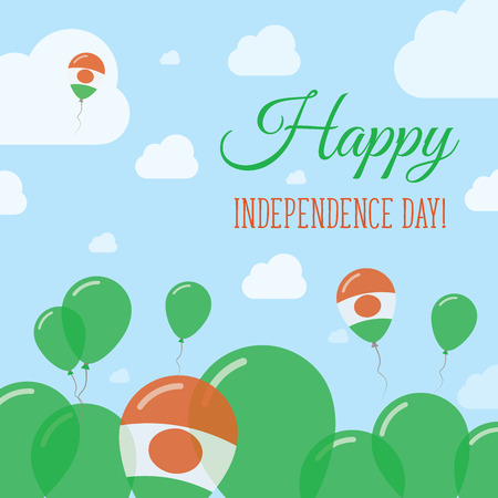 liberation: Niger Independence Day Flat Patriotic Design. Nigerian Flag Balloons. Happy National Day Vector Card.