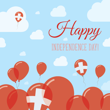 Switzerland Independence Day Flat Patriotic Design. Swiss Flag Balloons. Happy National Day Vector Card. Illustration