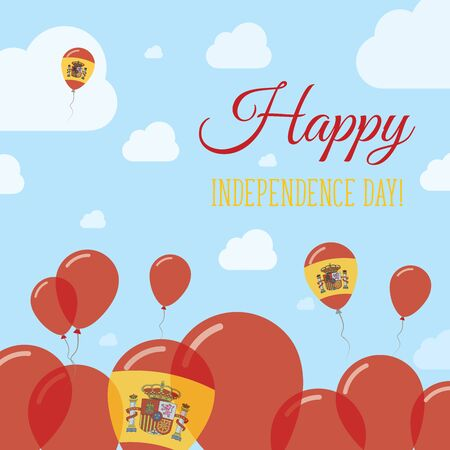 Spain Independence Day Flat Patriotic Design. Spanish Flag Balloons. Happy National Day Vector Card. Illustration