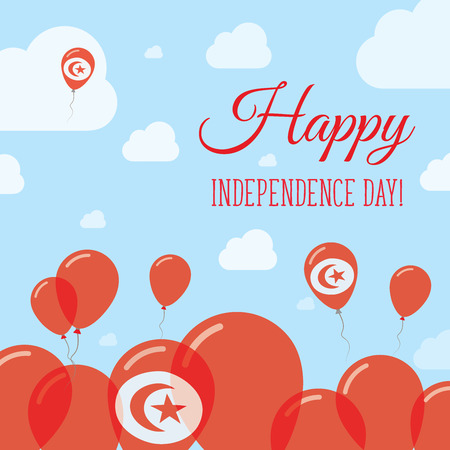 Tunisia Independence Day Flat Patriotic Design. Tunisian Flag Balloons. Happy National Day Vector Card.