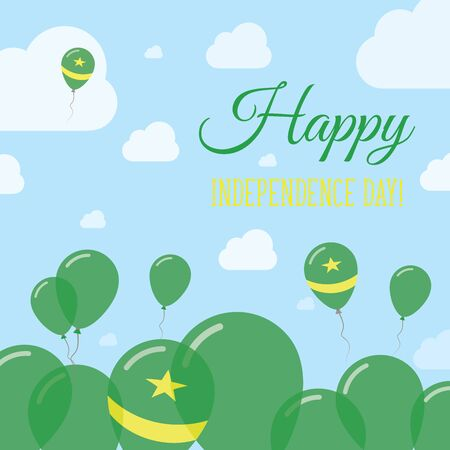 Mauritania Independence Day Flat Patriotic Design. Mauritanian Flag Balloons. Happy National Day Vector Card.