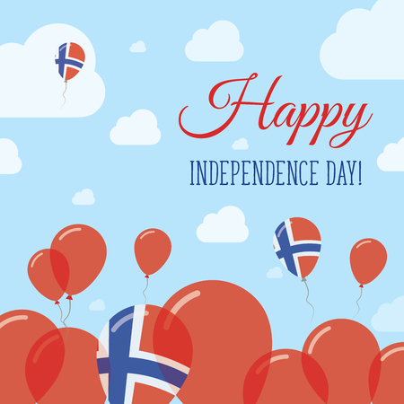 Svalbard And Jan Mayen Independence Day Flat Patriotic Design. Norwegian Flag Balloons. Happy National Day Vector Card.
