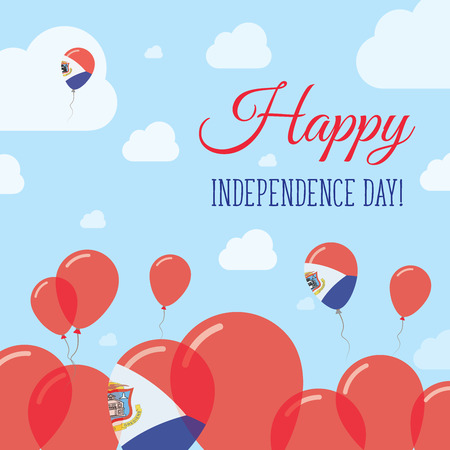 Sint Maarten Independence Day Flat Patriotic Design. Dutch Flag Balloons. Happy National Day Vector Card.