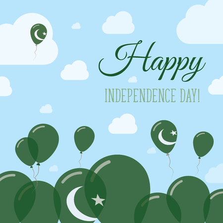 Pakistan Independence Day Flat Patriotic Design. Pakistani Flag Balloons. Happy National Day Vector Card.