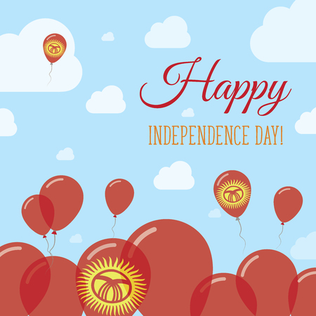 Kyrgyzstan Independence Day Flat Patriotic Design. Kirghiz Flag Balloons. Happy National Day Vector Card.