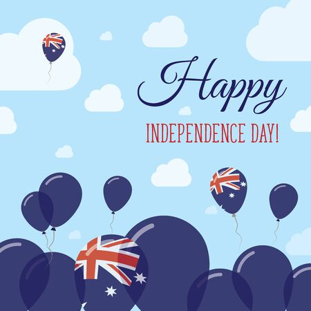 oceania: Australia Independence Day Flat Patriotic Design. Australian Flag Balloons. Happy National Day Vector Card. Illustration