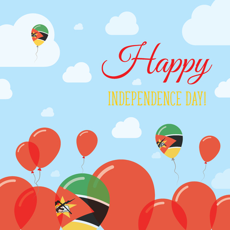 Mozambique Independence Day Flat Patriotic Design. Mozambican Flag Balloons. Happy National Day Vector Card. Illustration