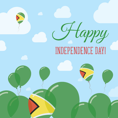 Guyana Independence Day Flat Patriotic Design. Guyanese Flag Balloons. Happy National Day Vector Card. Illustration