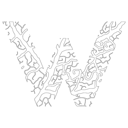 Nature alphabet, ecology decorative font. Capital letter V filled with leaf veins pattern black on white outline background. Leaves texture hand draw nature alphabet. Vector illustration.