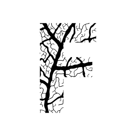 Nature alphabet, ecology decorative font. Capital letter F filled with leaf veins pattern black on white background. Leaves texture hand draw nature alphabet. Vector illustration.