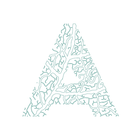 tree isolated: Nature alphabet, ecology decorative font. Capital letter A filled with leaf veins pattern green outline background. Leaves texture hand draw nature alphabet. Vector illustration.