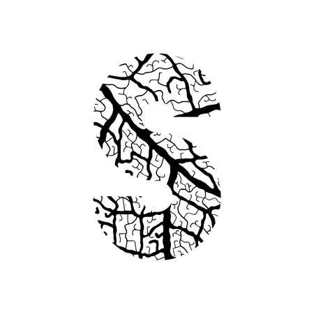 Nature alphabet, ecology decorative font. Capital letter S filled with leaf veins pattern black on white background. Leaves texture hand draw nature alphabet. Vector illustration.