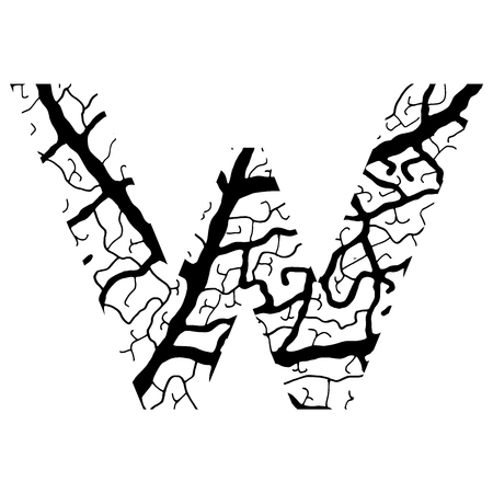 Nature alphabet, ecology decorative font. Capital letter V filled with leaf veins pattern black on white background. Leaves texture hand draw nature alphabet. Vector illustration.