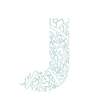 tree isolated: Nature alphabet, ecology decorative font. Capital letter J filled with leaf veins pattern green outline background. Leaves texture hand draw nature alphabet. Vector illustration.