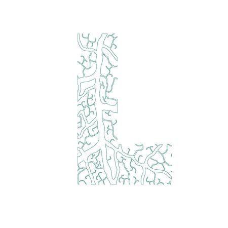 l natural: Nature alphabet, ecology decorative font. Capital letter L filled with leaf veins pattern green outline background. Leaves texture hand draw nature alphabet. Vector illustration. Illustration