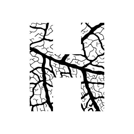 venation: Nature alphabet, ecology decorative font. Capital letter H filled with leaf veins pattern black on white background. Leaves texture hand draw nature alphabet. Vector illustration. Illustration