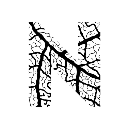 Nature alphabet, ecology decorative font. Capital letter N filled with leaf veins pattern black on white background. Leaves texture hand draw nature alphabet. Vector illustration. Illustration