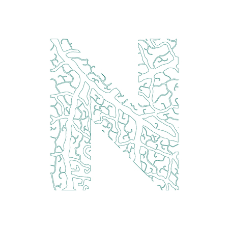 Nature alphabet, ecology decorative font. Capital letter N filled with leaf veins pattern green outline background. Leaves texture hand draw nature alphabet. Vector illustration.