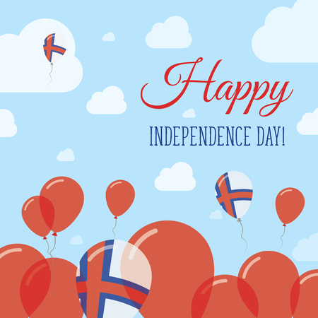 Faroe Islands Independence Day Flat Patriotic Design. Faroese Flag Balloons. Happy National Day Vector Card.