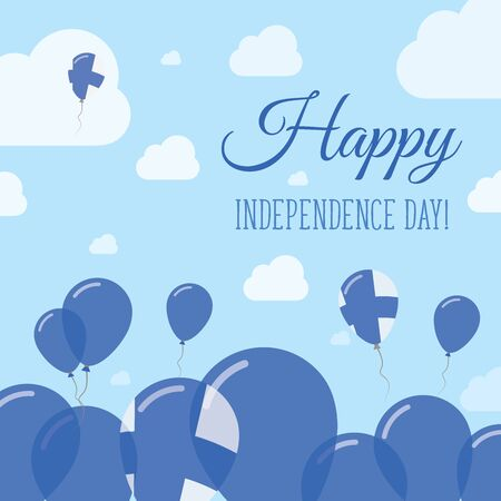 happening: Finland Independence Day Flat Patriotic Design. Finnish Flag Balloons. Happy National Day Vector Card.