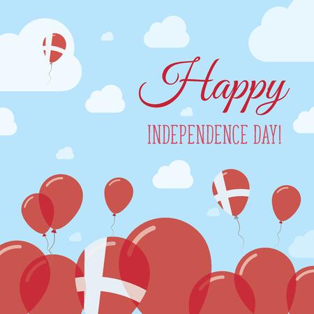 덴마크 독립 기념일 평면 애국적인 디자인입니다. 덴마크어 플래그 풍선입니다. 해피 건국 기념일 벡터 카드.