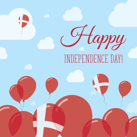 Denmark Independence Day Flat Patriotic Design. Danish Flag Balloons. Happy National Day Vector Card.