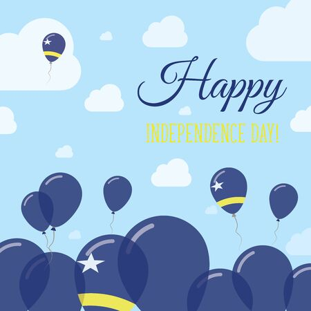 Curacao Independence Day Flat Patriotic Design. Dutch Flag Balloons. Happy National Day Vector Card.