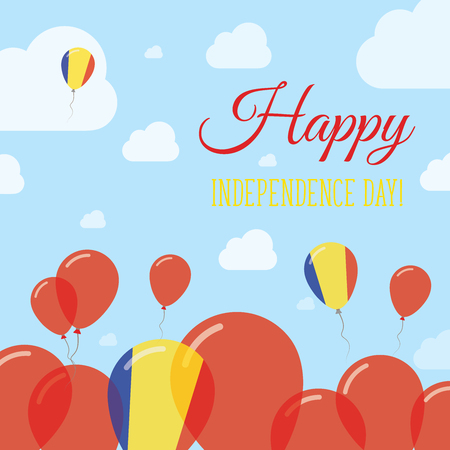 Romania Independence Day Flat Patriotic Design. Romanian Flag Balloons. Happy National Day Vector Card.