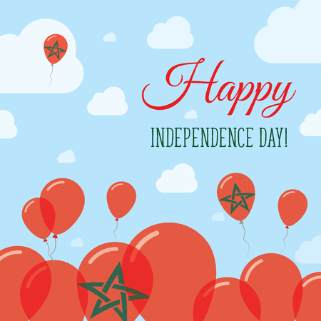 Morocco Independence Day Flat Patriotic Design. Moroccan Flag Balloons. Happy National Day Vector Card.