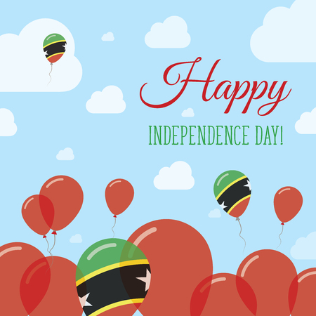 Saint Kitts And Nevis Independence Day Flat Patriotic Design. Kittian and Nevisian Flag Balloons. Happy National Day Vector Card.