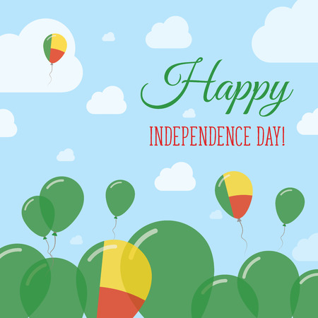 Benin Independence Day Flat Patriotic Design. Beninese Flag Balloons. Happy National Day Vector Card.