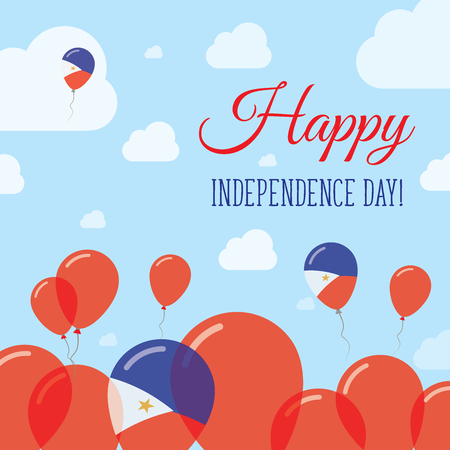 Philippines Independence Day Flat Patriotic Design. Filipino Flag Balloons. Happy National Day Vector Card. Illustration