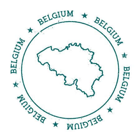 Belgium vector map. Retro vintage insignia with country map. Distressed visa stamp with Belgium text wrapped around a circle and stars. USA state map vector illustration.