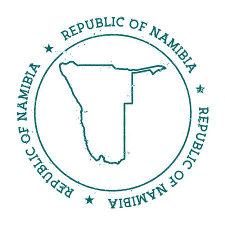 homeland: Namibia vector map. Retro vintage insignia with country map. Distressed visa stamp with Namibia text wrapped around a circle and stars. USA state map vector illustration.