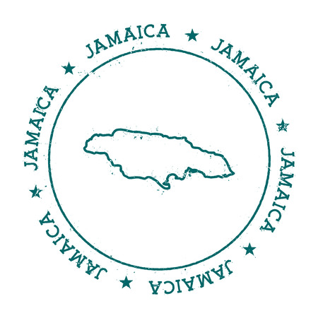 Jamaica vector map. Retro vintage insignia with country map. Distressed visa stamp with Jamaica text wrapped around a circle and stars. USA state map vector illustration.