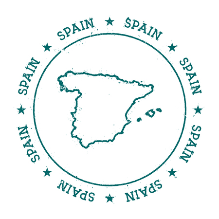 democrat: Spain vector map. Retro vintage insignia with country map. Distressed visa stamp with Spain text wrapped around a circle and stars. USA state map vector illustration.